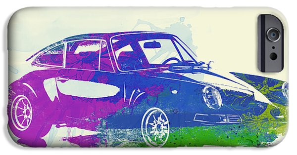 Vintage Car iPhone Cases - Porsche 911 Watercolor iPhone Case by Naxart Studio