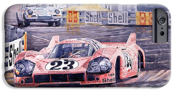 Sport Paintings iPhone Cases - Porsche 917-20 Pink Pig Le Mans 1971 Joest Reinhold iPhone Case by Yuriy  Shevchuk