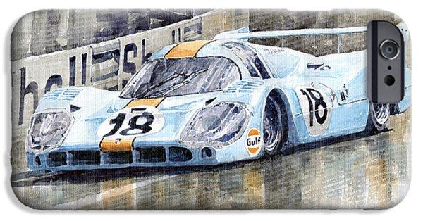 Le Mans 24 iPhone Cases - Porsche 917 LH 24 Le Mans 1971 Rodriguez Oliver iPhone Case by Yuriy  Shevchuk