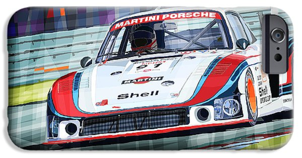 Automotive iPhone Cases - Porsche 935 Coupe Moby Dick Martini Racing Team iPhone Case by Yuriy  Shevchuk