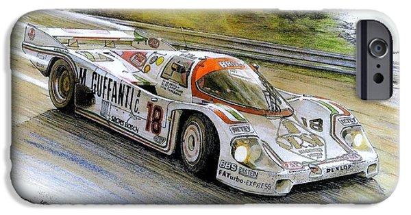Mixed Media Drawings iPhone Cases - Porsche 956B iPhone Case by Leonardo Baigorria