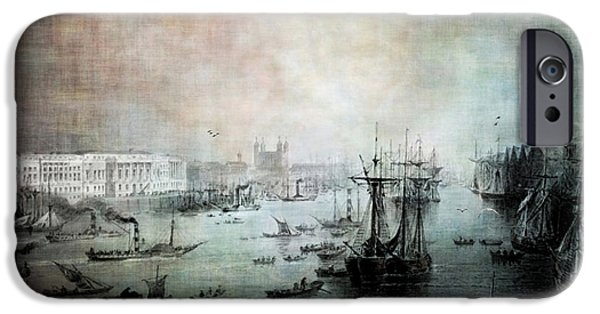 Sailboat Ocean iPhone Cases - Port of London - Circa 1840 iPhone Case by Lianne Schneider