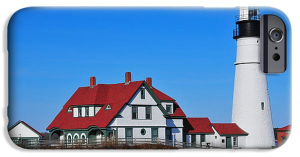New England Lighthouse iPhone Cases - Portland Head Light iPhone Case by Catherine Reusch  Daley