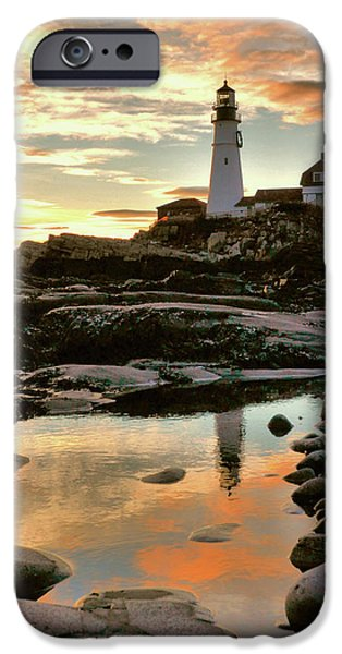 Recently Sold -  - New England Lighthouse iPhone Cases - Portland Head Light iPhone Case by Colleen Phaedra
