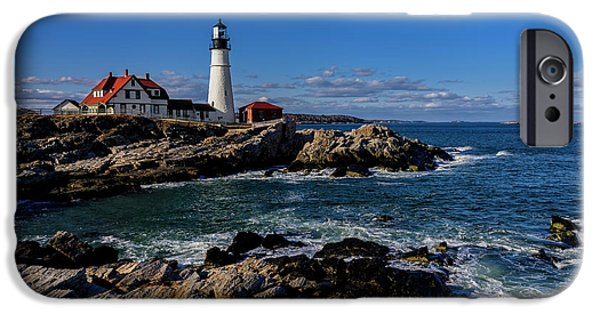 Lighthouse iPhone Cases - Portland Head Light No.32 iPhone Case by Mark Myhaver