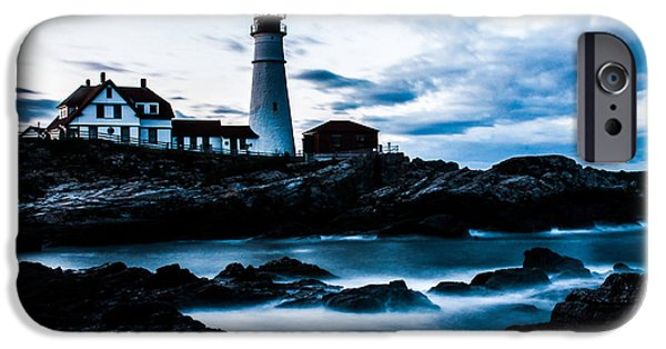 Maine Pyrography iPhone Cases - Portland head lighthouse iPhone Case by Amanda Geist