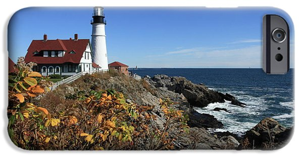 Recently Sold -  - New England Lighthouse iPhone Cases - Portland Head Lighthouse in the Fall iPhone Case by Lou Ford