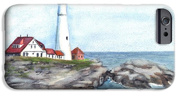Maine Drawings iPhone Cases - Portland Head Lighthouse Maine USA iPhone Case by Carol Wisniewski