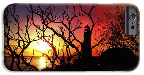Winter In Maine iPhone Cases - Portland Head Lighthouse Silhouette iPhone Case by Joann Vitali