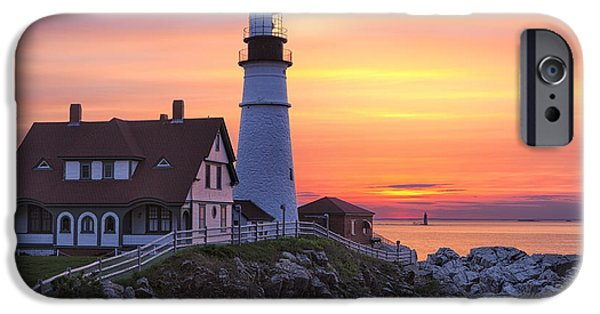 New England Lighthouse iPhone Cases - Portland Head Lighthouse Sunrise iPhone Case by Jerry Fornarotto