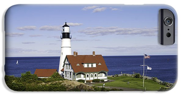New England Lighthouse iPhone Cases - Portland Head Lighthouse Two iPhone Case by Phyllis Taylor