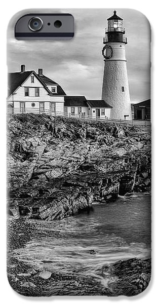 Recently Sold -  - Maine iPhone Cases - Portland Lighthouse Sunrise BW iPhone Case by Susan Candelario