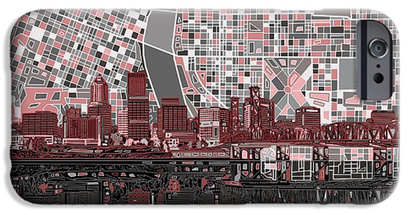 Abstract Digital Digital iPhone Cases - Portland Skyline Abstract 8 iPhone Case by MB Art factory
