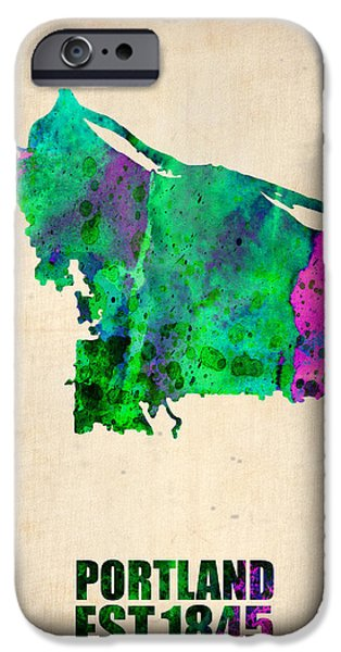 Street Maps iPhone Cases - Portland Watercolor Map iPhone Case by Naxart Studio