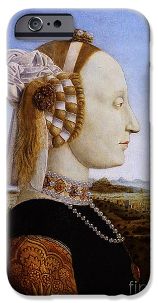 Duchess Paintings iPhone Cases - Portraif of Battista Sforza Duchess of Urbino iPhone Case by Celestial Images