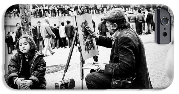 Monotone Pyrography iPhone Cases - Portrait artist in Paris near Centre Pompidou.    iPhone Case by Cyril Jayant