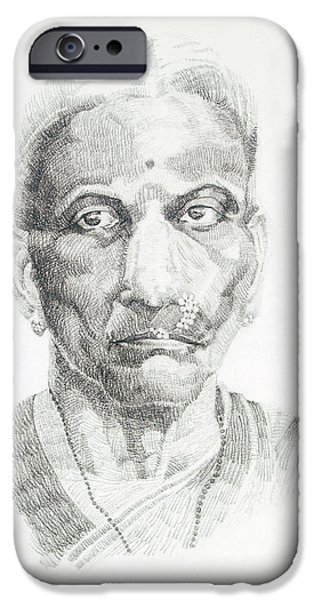 Virtual iPhone Cases - Portrait drawing of a great grand parent a Brahmin lady with a nosering iPhone Case by Makarand Joshi