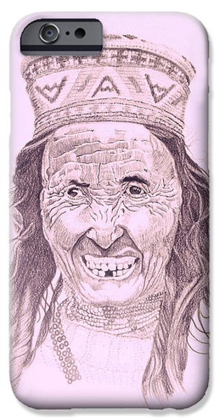 Virtual iPhone Cases - Portrait drawing of a Tibetan old lady with a bright smiling face iPhone Case by Makarand Joshi