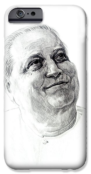 Virtual iPhone Cases - Portrait drawing of Pandit Kumar Gandharv iPhone Case by Makarand Joshi