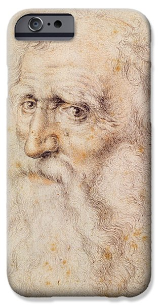 Eyebrow iPhone Cases - Portrait of a bearded old man iPhone Case by Albrecht Durer or Duerer