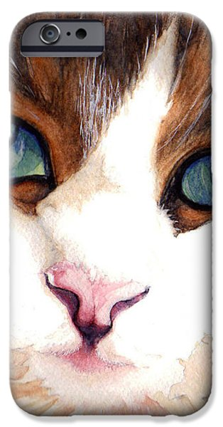 Portrait of a cat iPhone Case by Janine Riley