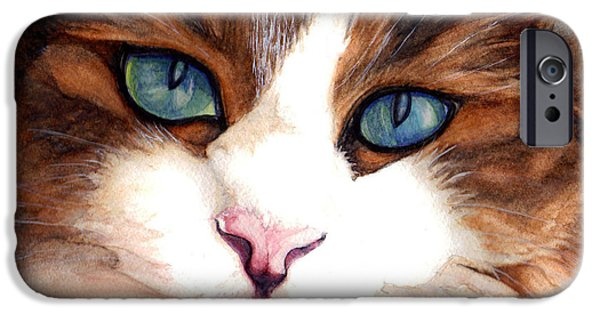 Felidae iPhone Cases - Portrait of a cat iPhone Case by Janine Riley