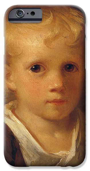 Innocence Paintings iPhone Cases - Portrait of a Child iPhone Case by Jean-Honore Fragonard