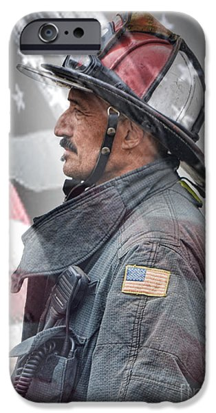 Flag iPhone Cases - Portrait of a Fire Fighter iPhone Case by Jim Fitzpatrick