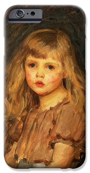 Little iPhone Cases - Portrait of a Girl iPhone Case by John William Waterhouse