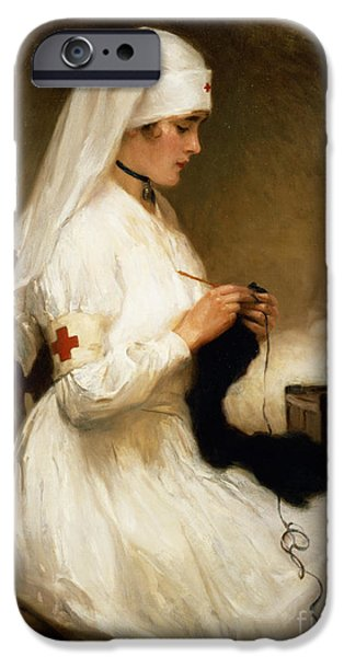 White iPhone Cases - Portrait of a Nurse from the Red Cross iPhone Case by Gabriel Emile Niscolet