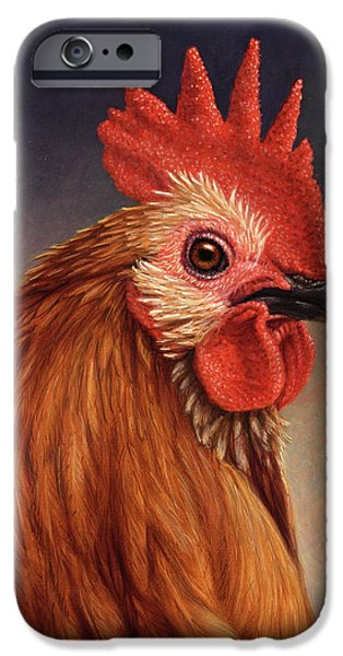 Farm iPhone Cases - Portrait of a Rooster iPhone Case by James W Johnson