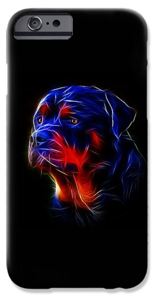 Police Art iPhone Cases - Portrait of Rottweiler iPhone Case by Alexey Bazhan