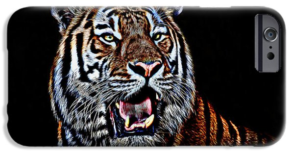 Stripes iPhone Cases - Portrait of a Tiger Glowing Version iPhone Case by Jim Fitzpatrick