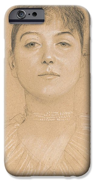 Pastel Drawings iPhone Cases - Portrait of a Woman iPhone Case by Gustav Klimt