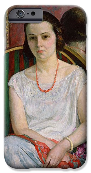 A Hand Mirror Paintings iPhone Cases - Portrait of a Woman iPhone Case by Henri Lebasque