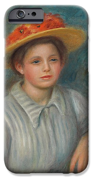 Renoir iPhone Cases - Portrait of a Woman with a Hat with Flowers iPhone Case by Pierre Auguste Renoir