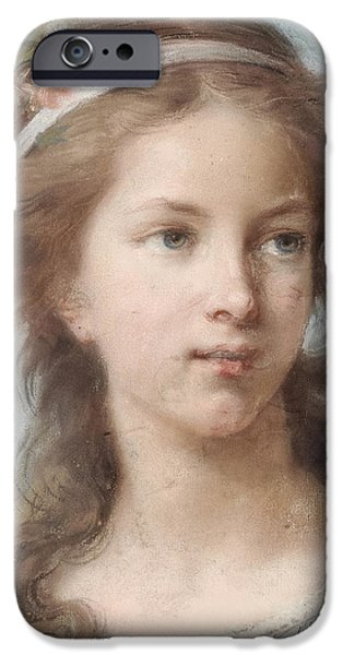 Florals Pastels iPhone Cases - Portrait of a young girl iPhone Case by Elisabeth Louise