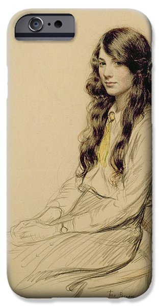 Hair Drawings iPhone Cases - Portrait of a Young Girl iPhone Case by Frederick Pegram