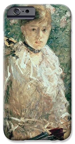 Portrait iPhone Cases - Portrait of a Young Lady iPhone Case by Berthe Morisot