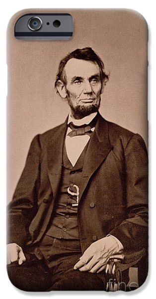 Honest Abe iPhone Cases - Portrait of Abraham Lincoln iPhone Case by Mathew Brady