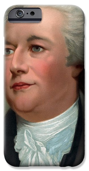 Close Drawings iPhone Cases - Portrait of Alexander Hamilton iPhone Case by Unknown