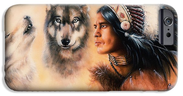 Native American Spirit Portrait iPhone Cases - Portrait of american indian in national dress  on color backgrou iPhone Case by Jozef Klopacka