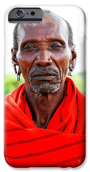 Character Portraits Photographs iPhone Cases - Portrait of an African chief warrior iPhone Case by Anna Omelchenko
