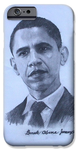Barack Obama Drawings iPhone Cases - portrait of Barack Obama iPhone Case by Sarah Mariam Yi