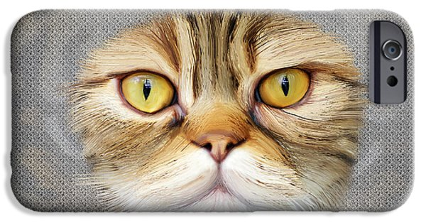 Cut-outs iPhone Cases - Portrait of brown-eyed cat  iPhone Case by Lee went