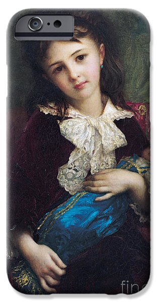 Young Paintings iPhone Cases - Portrait of Catherine du Bouchage iPhone Case by Antoine Auguste Ernest Hebert