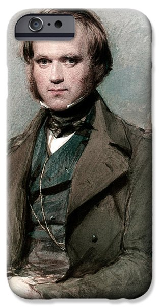 One Pastels iPhone Cases - Portrait of Charles Darwin iPhone Case by George Richmond