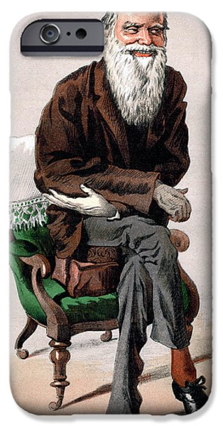 Caricature Drawings iPhone Cases - Portrait of Charles Darwin iPhone Case by James Jacques Joseph Tissot