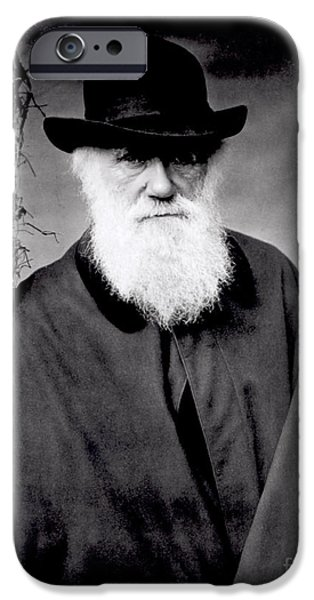 Posing iPhone Cases - Portrait of Charles Darwin iPhone Case by Julia Margaret Cameron
