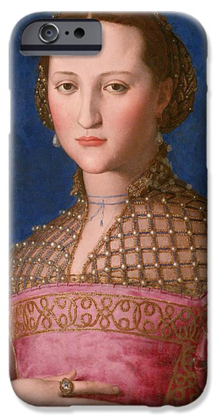 Young Paintings iPhone Cases - Portrait of Eleonora of Toledo  iPhone Case by Celestial Images